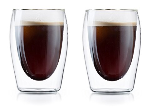 6 oz Double Wall Thermo Insulated Coffee Cups - Set of 2 Borosilicate Tea & Coffee Glasses by Boral Germany