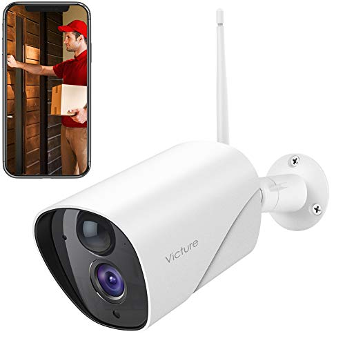 Victure Outdoor Security Camera 1080P FHD Home Surveillance IP Camera 2.4G WiFi IP65 Weatherproof System with Smart PIR Motion Detection Night Vision Two Way Audio