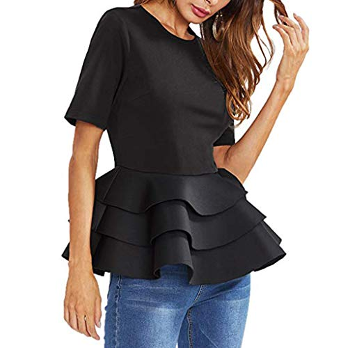 Corta En Camiseta Elegante Vintage Peplum Manga Para De Frauit Blusa Verano Forma Solida Negro Fiesta Mujer Volantes Camisa Con Dobladillo 1Ypx4t7tqw