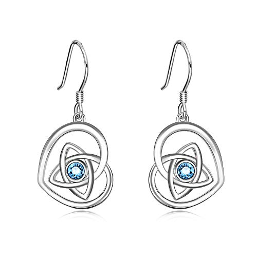 (AOBOCO 925 Sterling Silver Irish Celtic Knot Earrings Love Heart Dangle Earrings Made With Simulated Aquamarine Swarovski Crystals,Irish Jewelry Gifts For Women Girls)