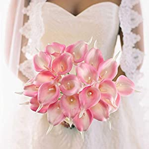 GTIDEA 20Pcs Fake PU Calla Lily Artificial Flowers Bride Wedding Bouquet for Table Centerpieces Arrangements Home DIY Garden Office Decor (Pink) 4