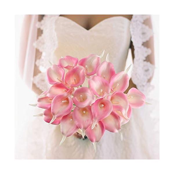 GTIDEA-20Pcs-Fake-PU-Calla-Lily-Artificial-Flowers-Bride-Wedding-Bouquet-for-Table-Centerpieces-Arrangements-Home-DIY-Garden-Office-Decor-Pink