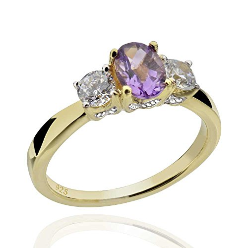 - Sterling Silver 14Kt Gold-Plated Brazilian Amethyst & Cubic Zirconia 3-Stone Ring Sz 7