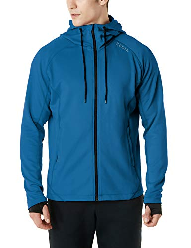 (TSLA Men's Performance Active Training Full-Zip Hoodie Jacket, Active Fullzip(mkj03) - Deep Blue, Small)