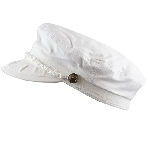 Perfect White Hat Box (The Hat Depot Cotton Yachting Style Sailing Greek Fisherman Cap hat (L/XL, White))