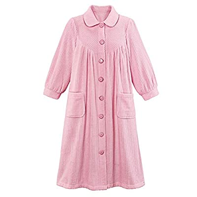Plush Fleece Button Front Robe with Pockets, Collar