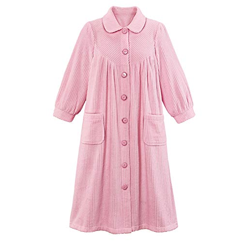 Women's Plush Fleece Button Front Robe with Pockets, Collar, Pink, Medium