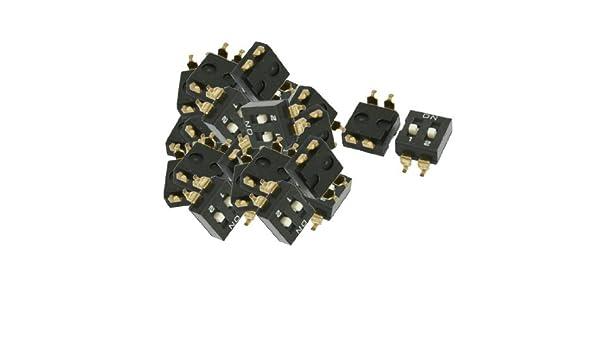 DealMux a12062600ux0267 Afastamento 2 Posições Deslize Dip Switches SMD, 2, 54 mm Preto - - Amazon.com