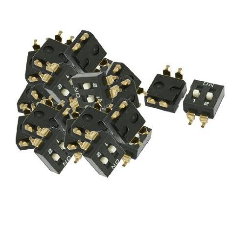 DealMux a12062600ux0267 Afastamento 2 Posições Deslize Dip Switches SMD, 2,54 mm Preto