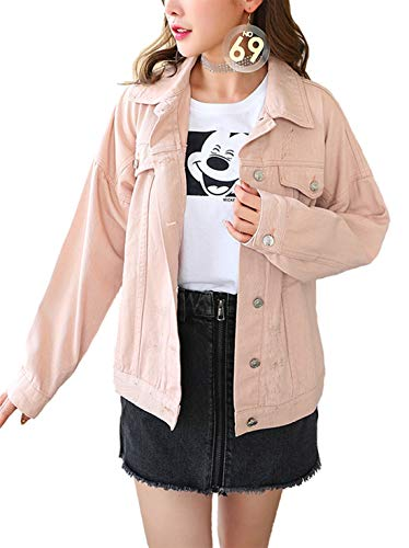 Tsher Women's Boyfriend Denim Jacket Long Sleeve Loose Jean Jacket Coats D003 (S, Pink)