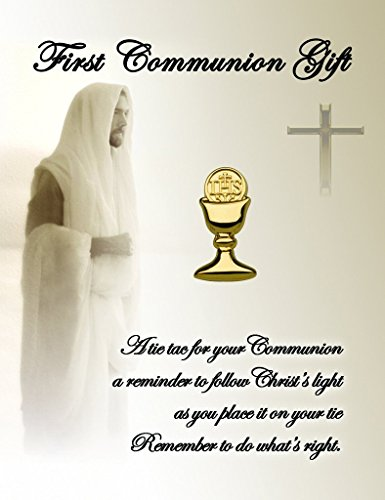 Lapel Chalice Pin - First Communion Chalice Tie Pin for Boys (Gold Tone)