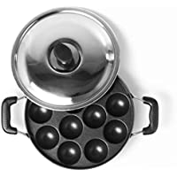 SUNDRY Non Stick 12 Cavity Appam patra with Side Handles and lid (Large Size, Red)