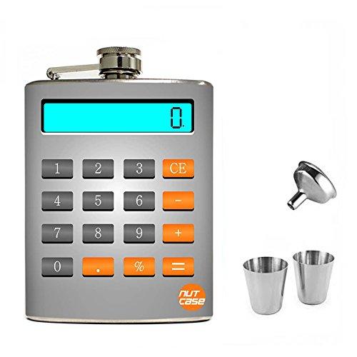 Nutcase Designer Hip Flask 7 Oz Gift Set This Calculator Never Works !