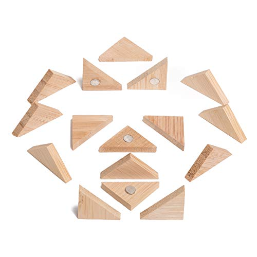 (Wooden Bamboo Fridge Whiteboard Magnets - Beautiful, Cute and Unique Refrigerator and Office Magnets for Photos, Notes and Papers - Triangle 16 Pack - Eye-Catching Decorations by Happy Gorilla Shop)