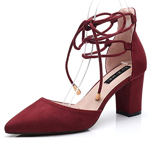 LIANGXIE Womens Ankle Strap Pumps Ladies Triple Straps Low Mid Block Heel Faux Suede Casual Shoes Block Chunky Heels Mid Low Heel Work Pumps Size,Red,39