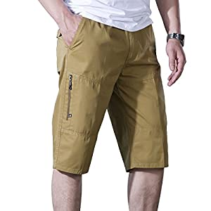 LOGEEYAR Men's Cotton Loose Relaxed Fit Drawstring Shorts Sports Casual Outwear