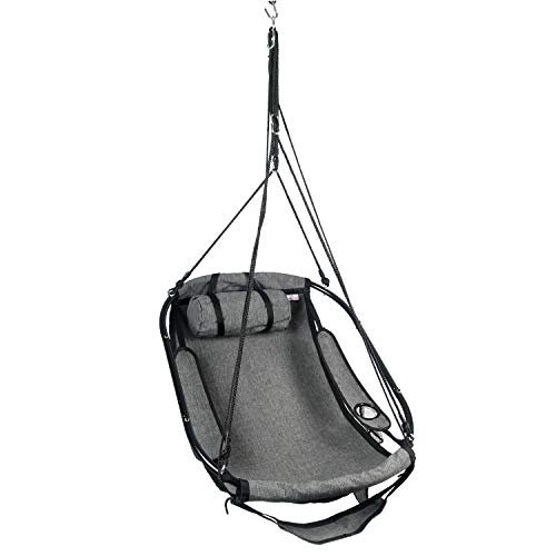 Bathonly Hanging Hammock Air Chair Metal Bars,with Plump Pillow Drink Holder Side Pouch, Footrest -330 Lbs