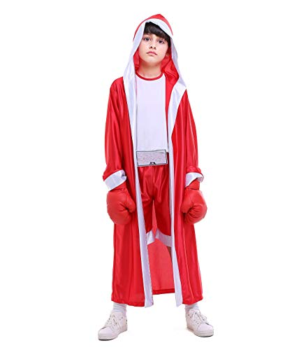 Boleyn Kid's Boy Halloween Carnival Boxing Costume Boxer Cosplay (Red, Large)