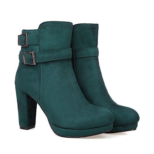 A&N Girls Chunky Heels Buckle Platform Frosted Boots Darkgreen c8mNeo