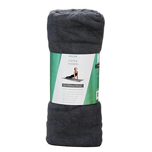 Incline Fit Microfiber Slip-Resistant Thick Yoga Towel, Elephant Gray