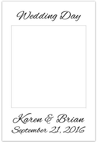Selfie Frame Polaroid Style Wedding Cutout Photo Booth Prop Poster - Script Text -