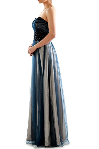 MACloth Women Two Tone Strapless Long Lace Tulle Prom Gown Evening Party Dress Azul Marino Oscuro