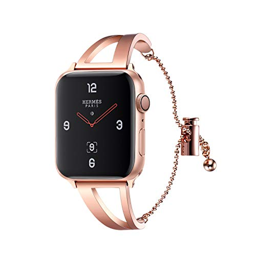 Bandmax Compatible for Apple Watch Band 38mm 40mm, Elegant Noble Women/Girls Jewelry Bracelet Bangle Wristband Stainless Steel iwatch Straps Series 4 3 2 1 with Adjustable Pendant Buckle(Rose Gold)