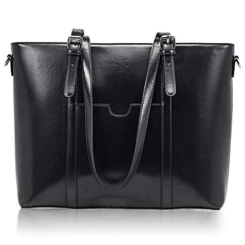 BROMEN Women Briefcase 15.6 inch Laptop Tote Bag Vintage Leather Handbags Shoulder Work Purses Black (Leather Computer Purse)