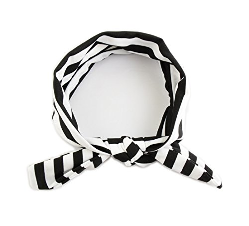 Baby Stretch Stripe Headbands Ribbon Bow Bowknot Knotted Twist Hair Wrap JA15 (Black) (Stripe Bow)