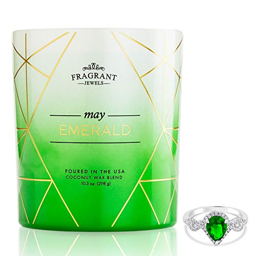Fragrant Jewels Emerald May Birthstone Candle with Collectible Ring (Size - Jewel Emerald