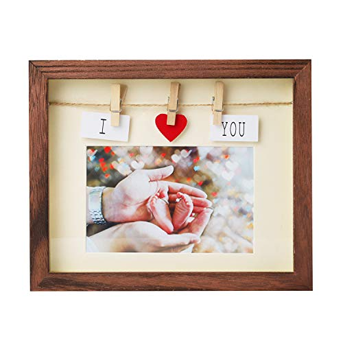 Handmade Picture Frames 4x6 with Mat - Real Solid Wood Shadow Box & Glass Pane, Complete with Red Heart & Card & Clothes Line & Pin, for Couples, Family, Friends Photo, Cute Fun Box Photo Frame 4 x 6