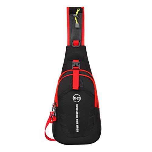 zhouba deportes al aire libre viaje senderismo pecho bolsa Casual bolsa bandolera senderismo Camping bicicleta bolsa, Red + Yellow Black + Red