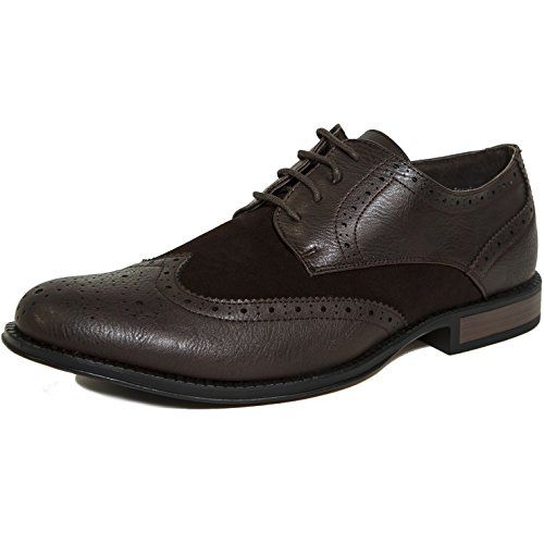 Alpine Swiss Zurich Mens Wing Tip Oxfords TwoTone Brogue Medallion Brown 12 M US