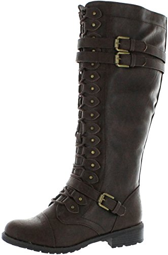 Wild Diva Women's Fashion Timberly-65 Military Knee High Combat Boots Shoes Brown Wet Pu 8