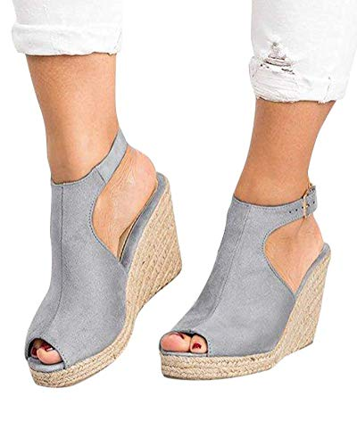 Minetom Women's Wedge Sandal Espadrille Ankle Strap Criss Cross Fashion Sandals Grey 8 M US