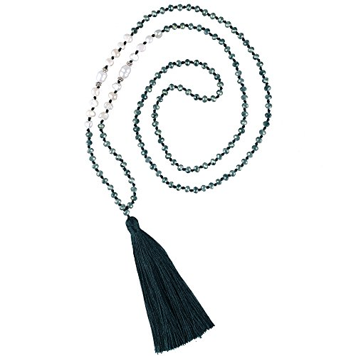 - C·QUAN CHI Long Chain Tassel Necklace Handmade Natural Pearl Crystal Beaded Pendant Bohemian Women Statement Jewelry for Women Gifts for Girls