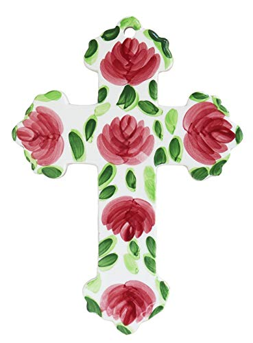 Small Ceramic Cross - ACK Precious Home Decor Collection, in Red Rose, Wall Cross 9-1/8