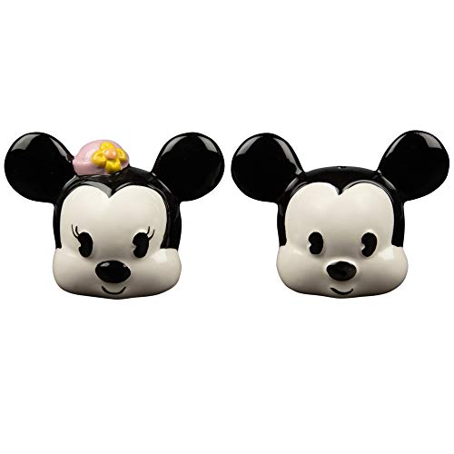 (Mickey and Minnie Mouse Salt and Pepper Shaker Set - Original Classic Design - Ceramic)