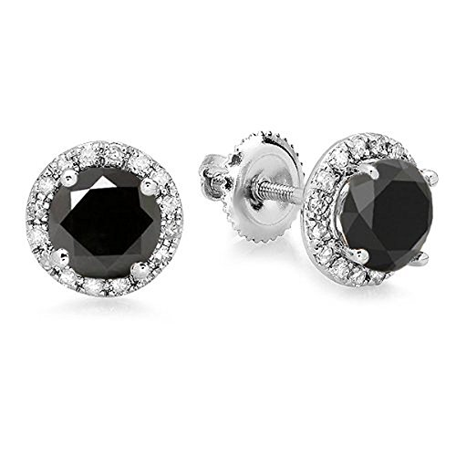 Dazzlingrock Collection 2.00 Carat (ctw) 14K Round Black & White Diamond Ladies Halo Style Stud Earrings 2 CT, White Gold