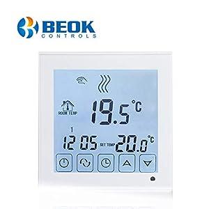 Beok Termostato a Batteria per Caldaia a Gas Programmabile Ambiente Termostato de Parete con Digitale LCD Touchscreen BOT-323W 7 spesavip
