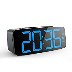 FOONEE LED Digital Alarm Clock with USB Port Auto Time Set Alarm Clock Bedroom Bedside Clocks Touch-Activated Snooze Dimmer 12/24 Format Cutover 15x4.5x5.2cm Black