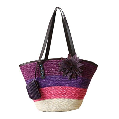 Bags Totes 1 Beach Boho Shoulder Flower Purple Shopper Straw Womens Handbag Bags YOUJIA P4wIOvnSq