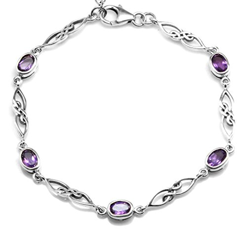 1.95ct. Natural Amethyst White Gold Plated 925 Sterling Silver Celtic Knot 7.25-8.75