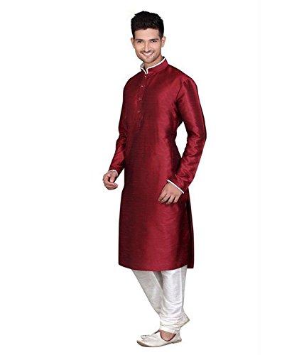 Larwa Men's Festive, Wedding Kurta Pyjama Set Special for eid=Maroon