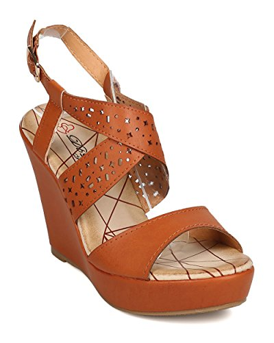 DBDK Women Leatherette Open Toe Perforated Platform Wedge Sandal FA97 - Tan (Size: 8.0)