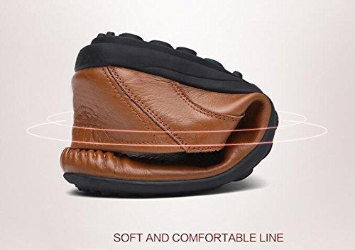 Go-tour Heren Premium Lederen Casual Slip Op Loafers Ademende Rijschoenen Fashion Slipper C-brown
