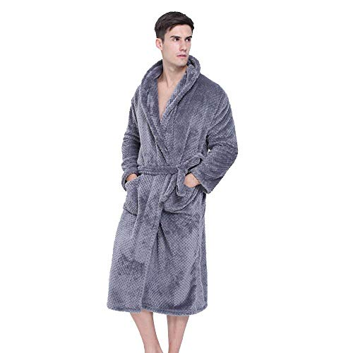 (HGWXX7 Robes for Men Winter Lengthened Coralline Plush Shawl Long Sleeve Robe Tops Coat Bathrobe Homewear(S,Dark Gray))