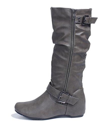 AgeeMi Bottes Zipper Compensé Plier Shoes Confort Gris Bottes Combat Imperméable Talon Chaudes Femmes rpUrxqT