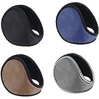 WeiMeet 4 Pieces Unisex Fleece Earmuffs Foldable Earmuffs Winter Outdoor Ear Warmer Men's Earmuffs Women's Earmuffs