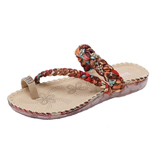 (Fheaven Women Boho Flip Flops Casual Clip Toe Beach Slippers Floral Braided Strap Sandals Toe Ring Flat (China size:35(US:4.5), Red))